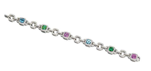 A pink sapphire, tourmaline, aquamarine and diamond bracelet, by Tiffany & Co.