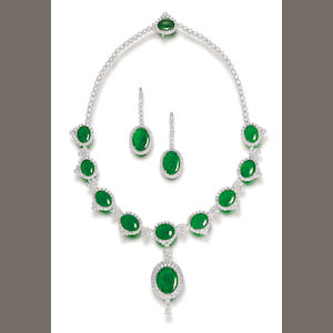 A jadeite and diamond necklace and earring suite (2)