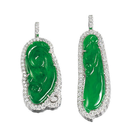 A pair of jadeite and diamond pendants (2)