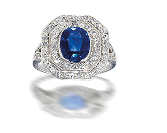 A sapphire and diamond ring,  circa 1910