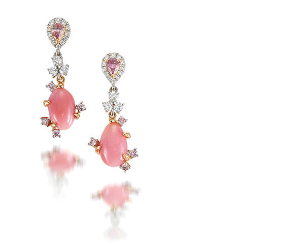 A pair of conch pearl, coloured diamond and diamond pendent earrings
