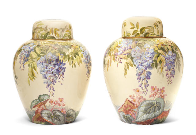 An important pair of Copeland presentation vases and covers by Charles F Hurten, circa 1870