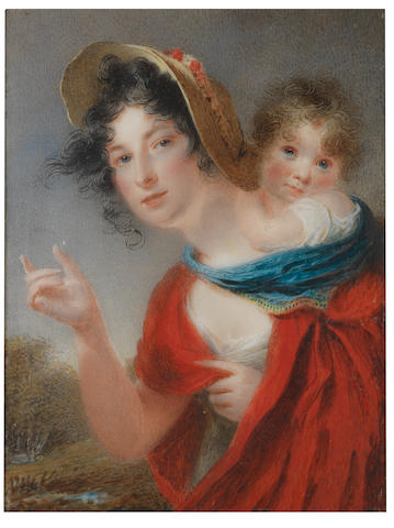 Thomas Hargreaves (British, 1775-1846) A Lady, called Mrs Mary Whitehouse née Lake (1774-1865) carrying her daughter, Clarissa Barbara, on her back: the former, wearing white dress with short sleeves and vermillion cloak, her dark hair upswept beneath a straw hat adorned with flowers, her right hand pointing upwards; the latter, cradled on her mother's back within the seat of a blue shawl, resting her arm on her mother's neck and wearing white dress, her brown hair curling naturally