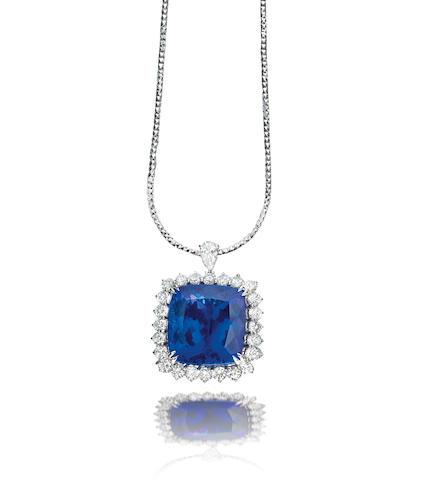 A tanzanite and diamond pendant