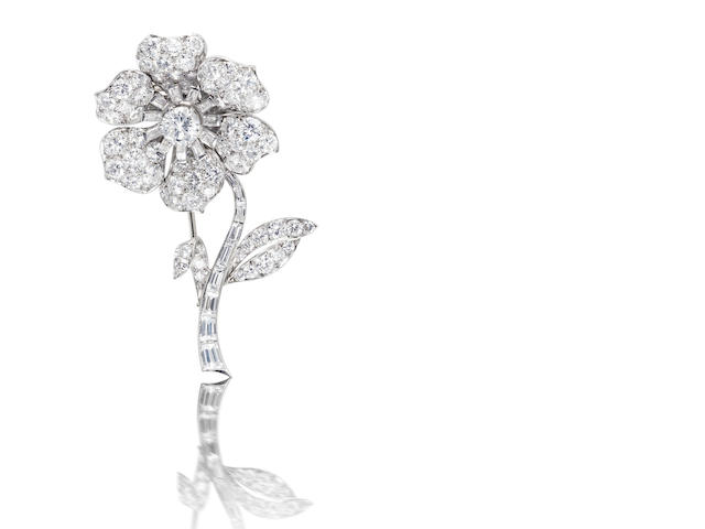 A diamond flower brooch, by Van Cleef & Arpels
