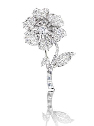 A diamond flower brooch, by Van Cleef & Arpels