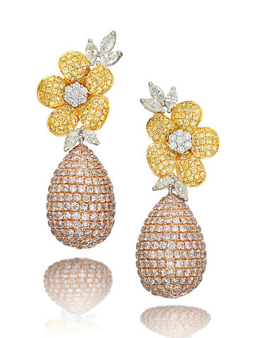 A pair of coloured diamond and diamond pendent earrings