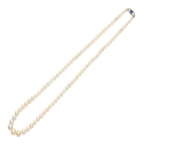 A pearl, sapphire and diamond necklace