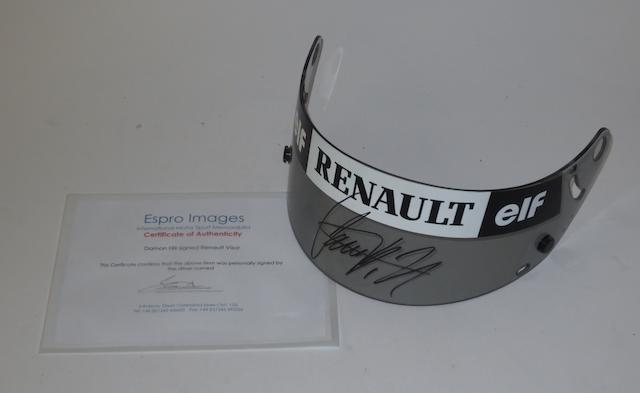 A signed Damon Hill Renault visor,