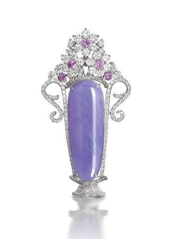A lavender jadeite, pink sapphire and diamond pendant