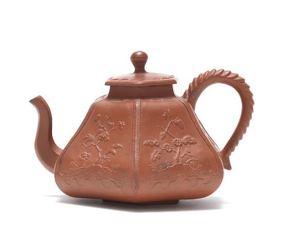 A very rare Meissen Böttger stoneware hexagonal teapot and cover, circa 1710-13