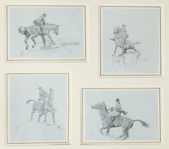 Lionel Dalhousie Robertson Edwards, RI (British, 1878-1966) Four studies of horsemen