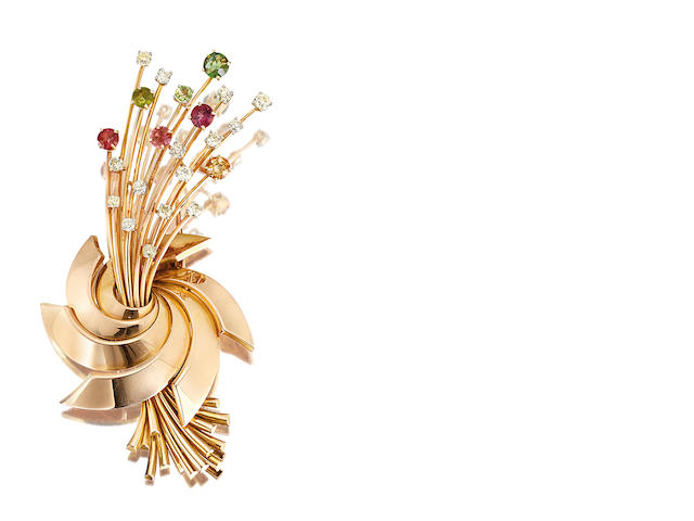 A diamond and gem-set brooch, by Van Cleef & Arpels