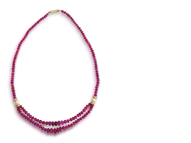 A ruby, pearl and diamond necklace