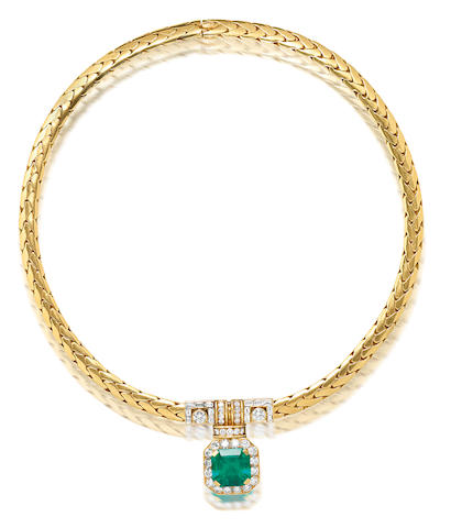 An emerald and diamond necklace, by Cartier