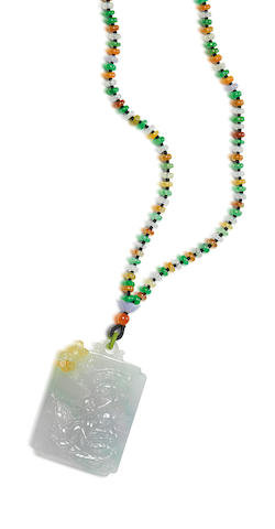 A jadeite pendant necklace