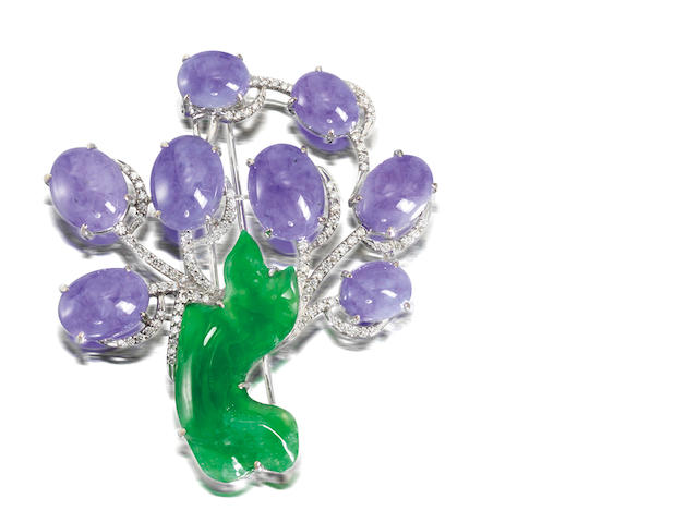 A lavender jadeite, jadeite and diamond brooch