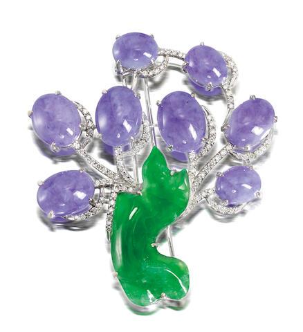 A lavender jadeite, jadeite and diamond brooch