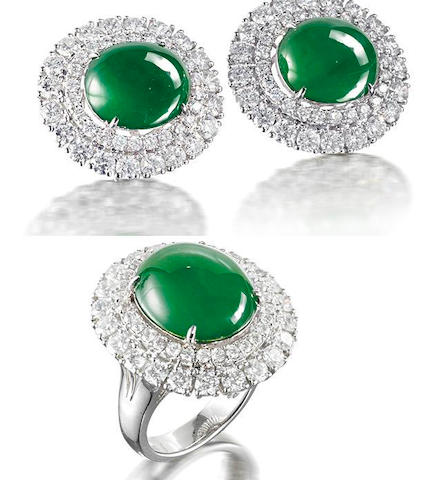 A jadeite and diamond ring and earring suite  (2)