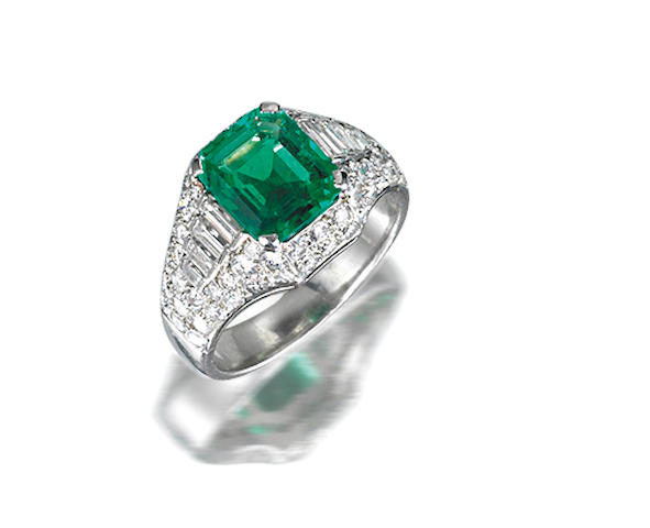 An emerald and diamond ring, by Bulgari