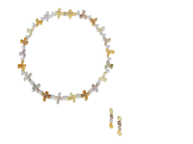 A coloured diamond and diamond necklace and earring suite  (2)
