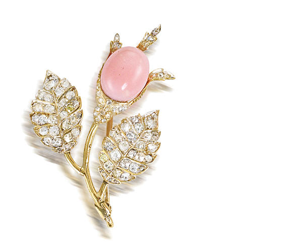A conch pearl and diamond brooch