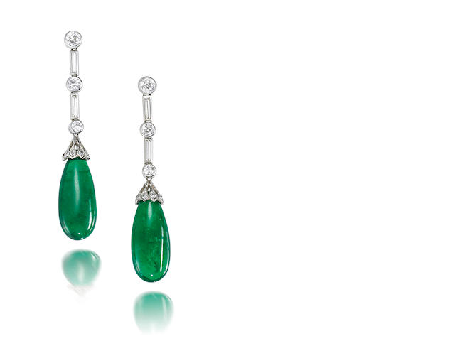 A pair of emerald drop and diamond pendent earrings