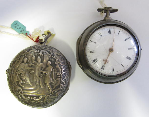 A lot of two silver key wind pair case pocket watches