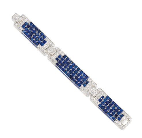 A fine art deco sapphire and diamond bracelet, by Cartier,