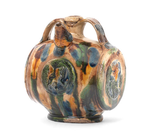 A French pilgrim flask, School of Palissy, 17th century