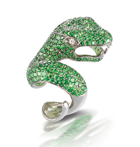 A tsavorite garnet and diamond dress ring,  by Mayer Collection