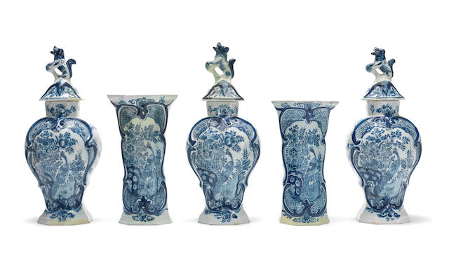 A Dutch Delft vase garniture, De Porceleyne Fles, circa 1764-86
