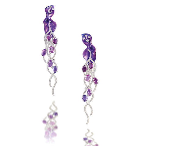 A pair of titanium, coloured sapphire and diamond pendent earrings