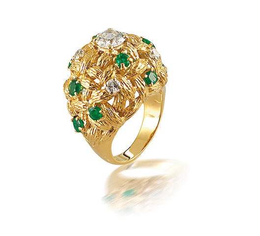 An emerald and diamond dress ring, by Mauboussin