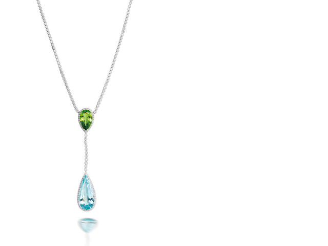 An aquamarine, peridot and diamond pendant necklace