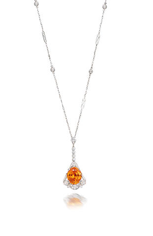 A spessartite garnet and diamond necklace, by Tiffany & Co.
