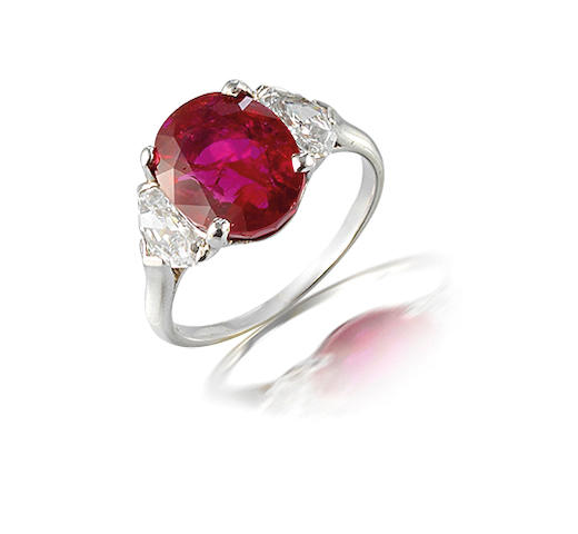 A ruby and diamond ring, by Marcus