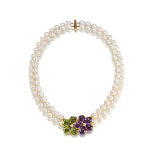 An amethyst, peridot and cultured pearl necklace, by Van Cleef & Arpels