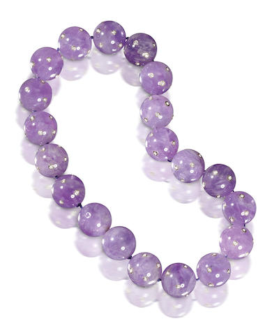 An amethyst and diamond bead necklace