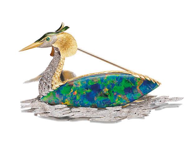An opal, enamel and emerald brooch,