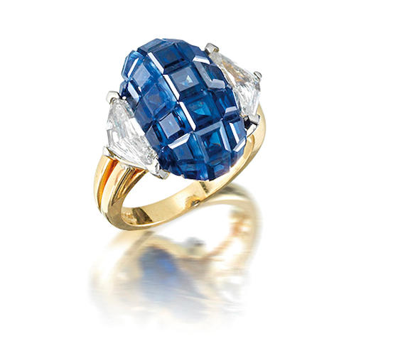 A sapphire and diamond ring, by Oscar Heyman