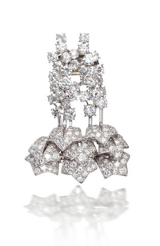A diamond 'waterfall' brooch, by Cartier