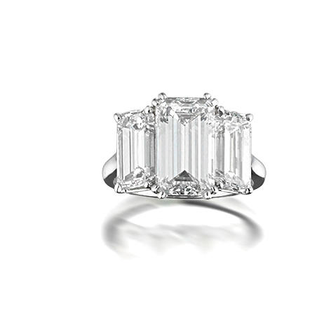An impressive three-stone diamond ring, by Harry Winston