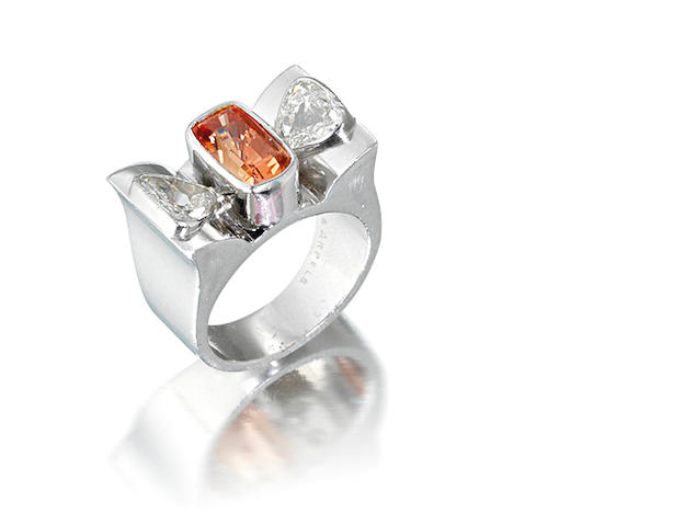 A padparadscha sapphire and diamond ring,  by Van Cleef & Arpels