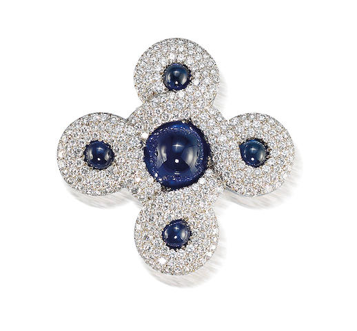 A diamond and sapphire brooch, by Chanel