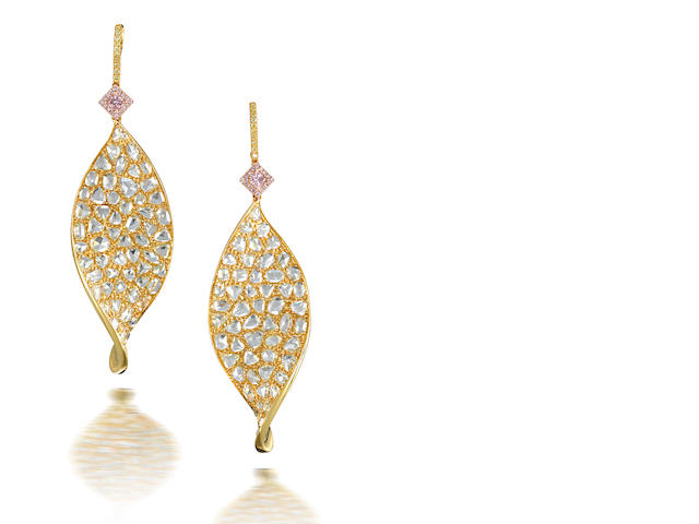 A pair of diamond and coloured diamond pendent earrings