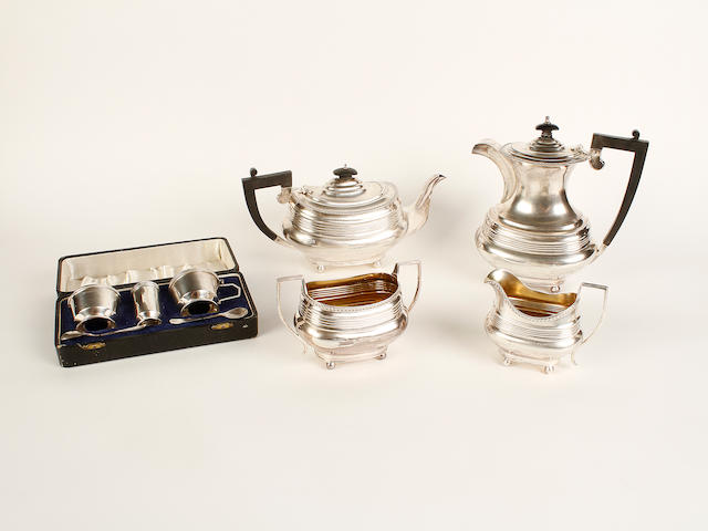 A silver four piece teaset maker's mark indistinct, London 1946-7  (5)