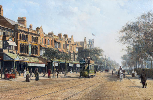 John L Chapman - Lord Street, Southport - oil painting