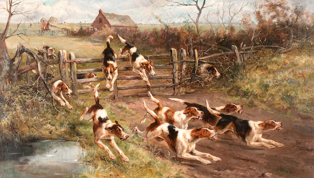Arthur A. Davis (British, active 1877-1905) Hounds 'Full Cry'