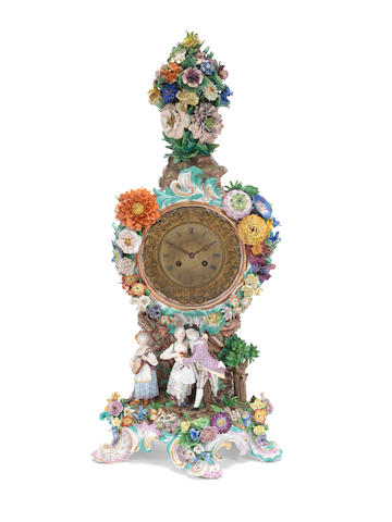 A large Meissen clock case, circa 1860